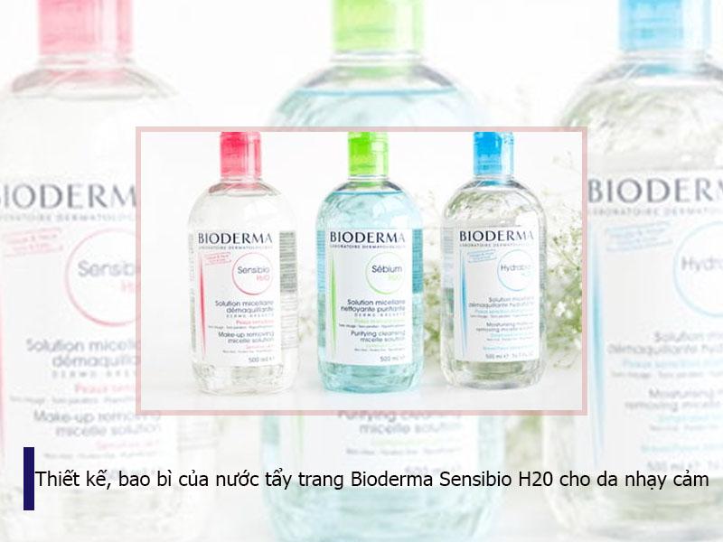 Thiết kế, bao bì của nước tẩy trang Bioderma Sensibio H20 cho da nhạy cảm