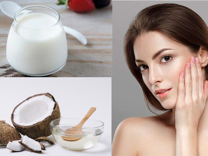 Làm đẹp da mặt bằng dầu dừa và sữa chua