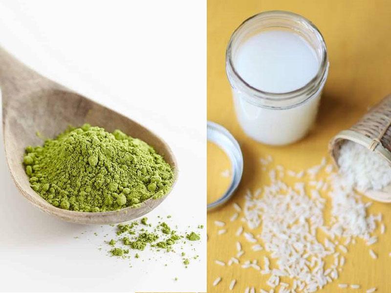 Làm đẹp da mặt bằng nước vo gạo và bột trà xanh