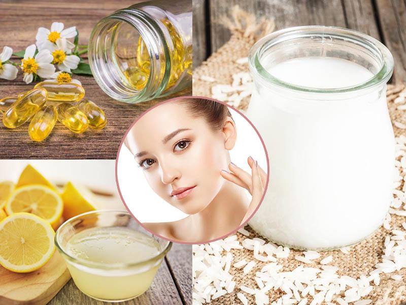 Làm đẹp da mặt bằng nước vo gạo + Vitamin E + nước cốt chanh