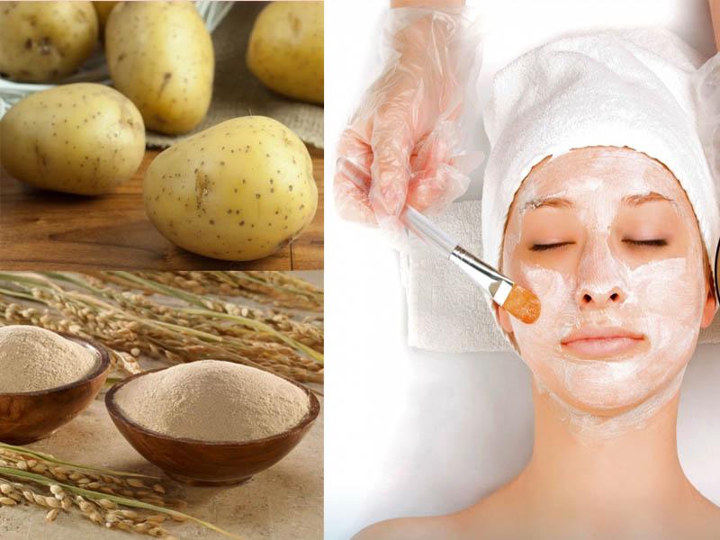 Làm đẹp da mặt từ khoai tây và bột cám gạo