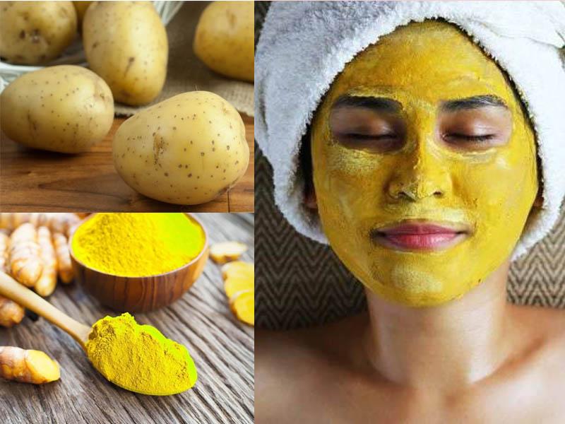Làm đẹp da mặt bằng khoai tây và bột nghệ