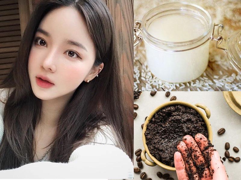 Làm đẹp da mặt bằng nước vo gạo và bã cà phê
