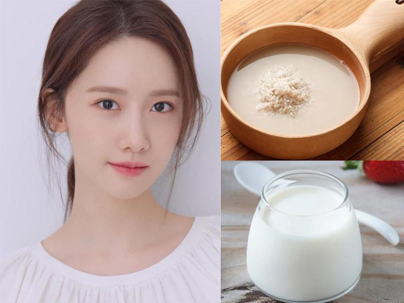 Làm đẹp da mặt bằng nước vo gạo và sữa chua không đường